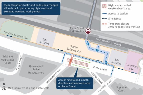 Map of the temporary traffic and pedestrian changes required during night and extended weekend periods in Roma Street.