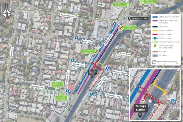 Map of Yeronga station showing StationLink bus route via Yeronga Street, Feez Street and Kadumba Street, Yeronga.