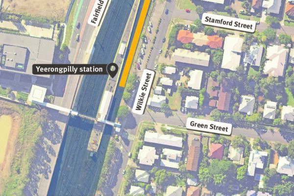Map show work area within the rail corridor at Yeerongpilly station and construction access via Wilkie Street.