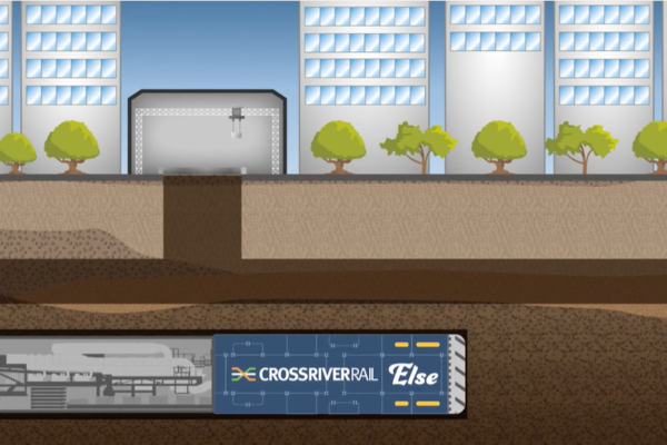 Illustration showing a TBM machine passing underneath a construction site in the CBD