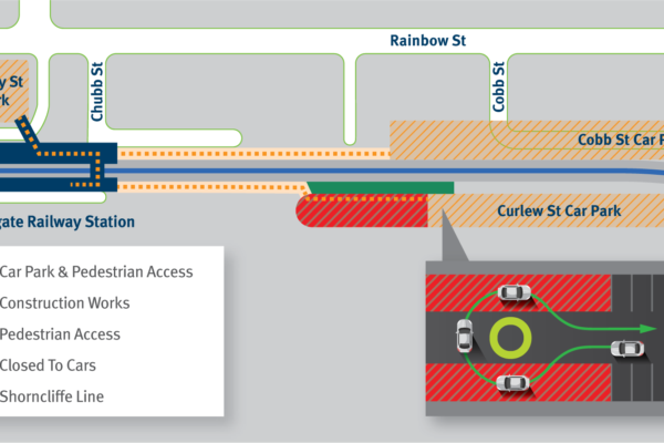 Map of Curlew Street car park closure at Sandgate station