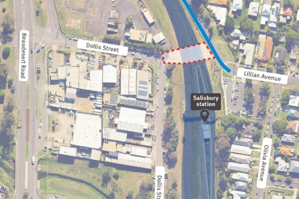 Map showing work areas within the rail corridor at Salisbury station and a single lane closure in place on Fairlie Terrace for construction access.