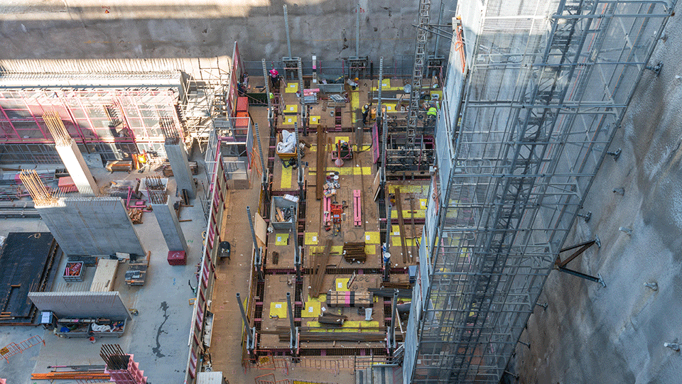 Formwork going up at Woolloongabba