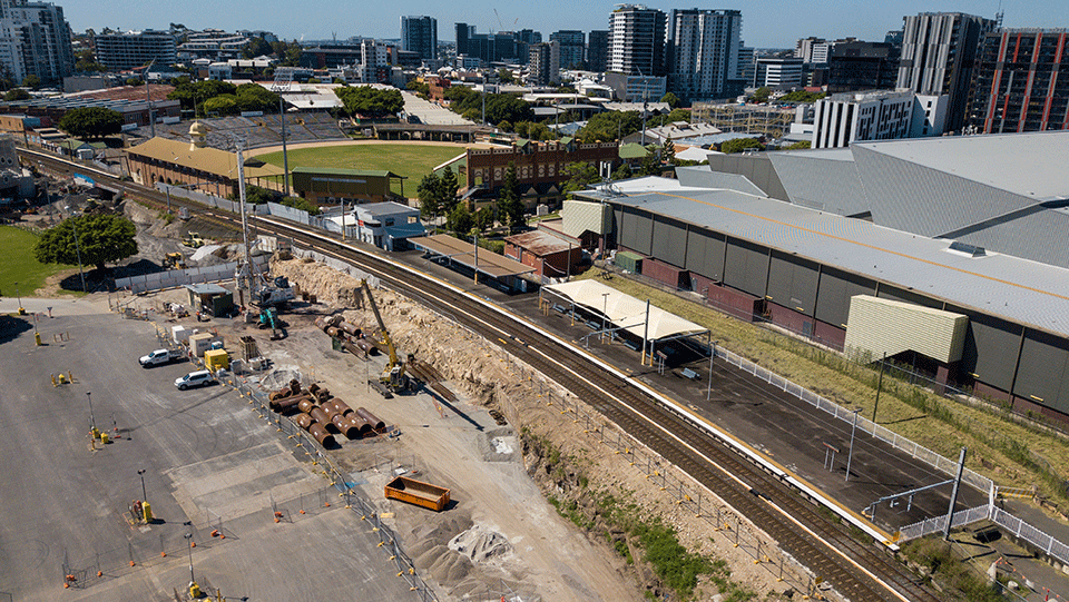 Aerial photo of Exhibition station