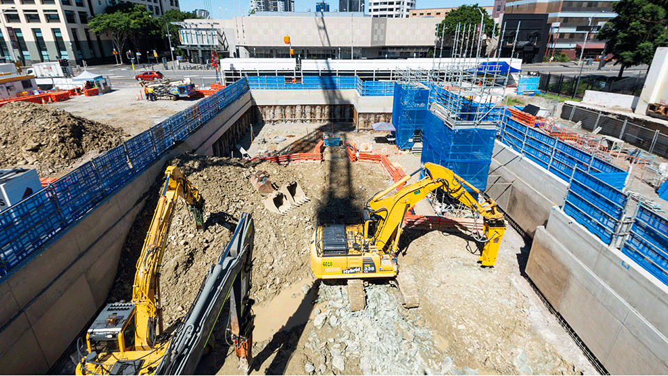 Above ground excavation at Roma Street for the new services building