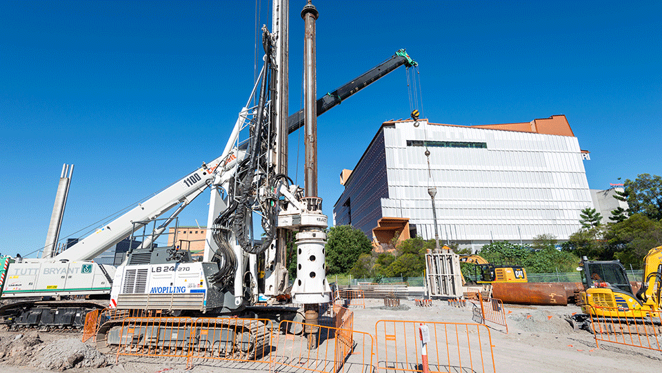 Piling Rig at the Southern Portal site