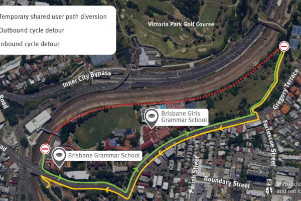 Map showing Victoria Park shared user path weekend diversion.