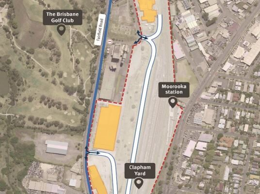 Map showing work area and construction access from Fairfield Road and Chale Street, Yeerongpilly.