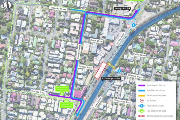 Map showing work area and closure of Fairfield Road northbound lanes between Kadumba Street and Yeronga Street, Yeronga with a single lane of traffic in each direction on Fairfield Road southbound lanes.