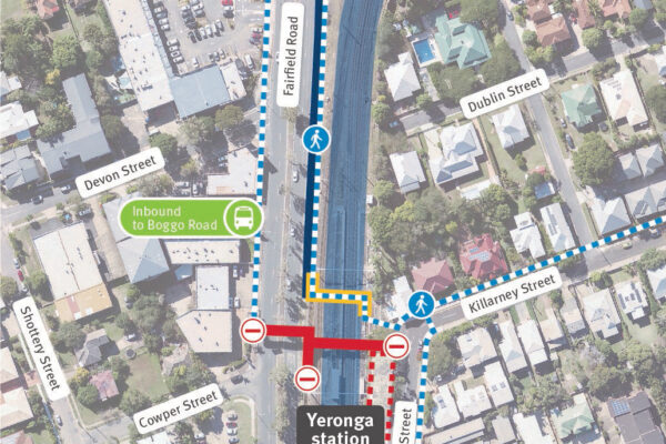 Image showing new pedestrian access via temporary scaffold overpass between Lake Street and Fairfield Road, Yeronga.