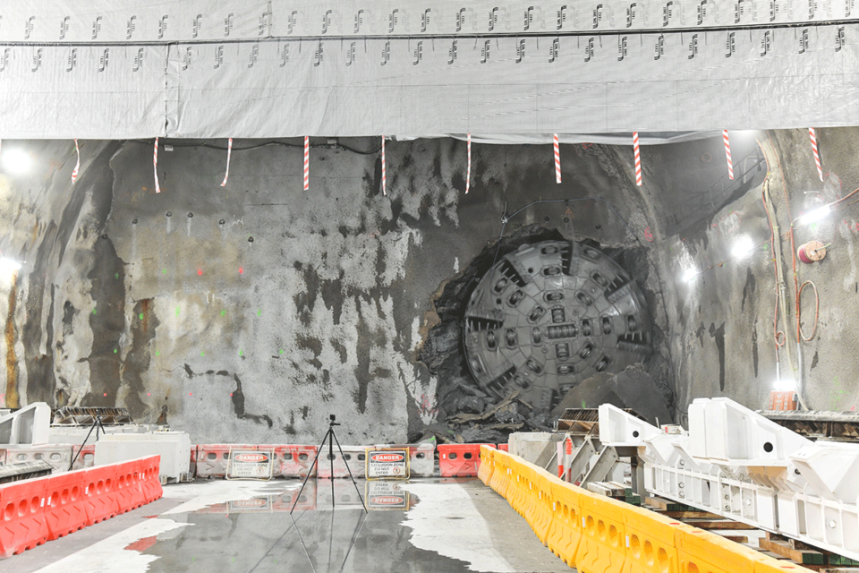 Full TBM cutterface visible inside the headwall
