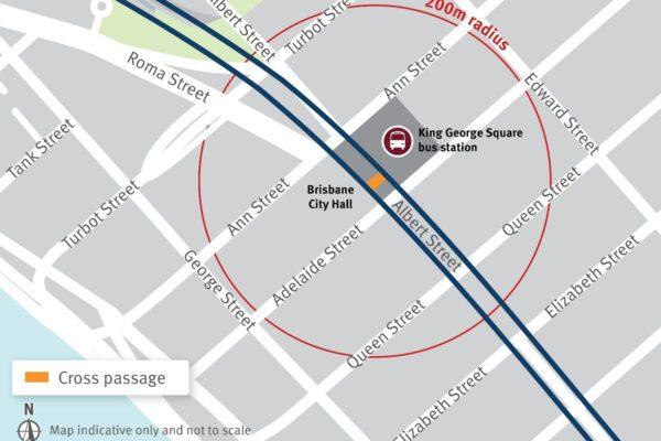 Location of cross passage beneath King George Square