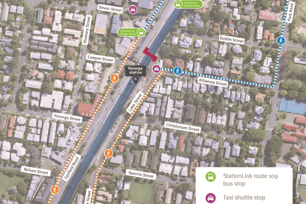 Map showing Yeronga overpass closure, alternative pedestrian routes via Overdean Street and Cardross Street. Taxi shuttle stops are located on Devon Street and Lake Street.