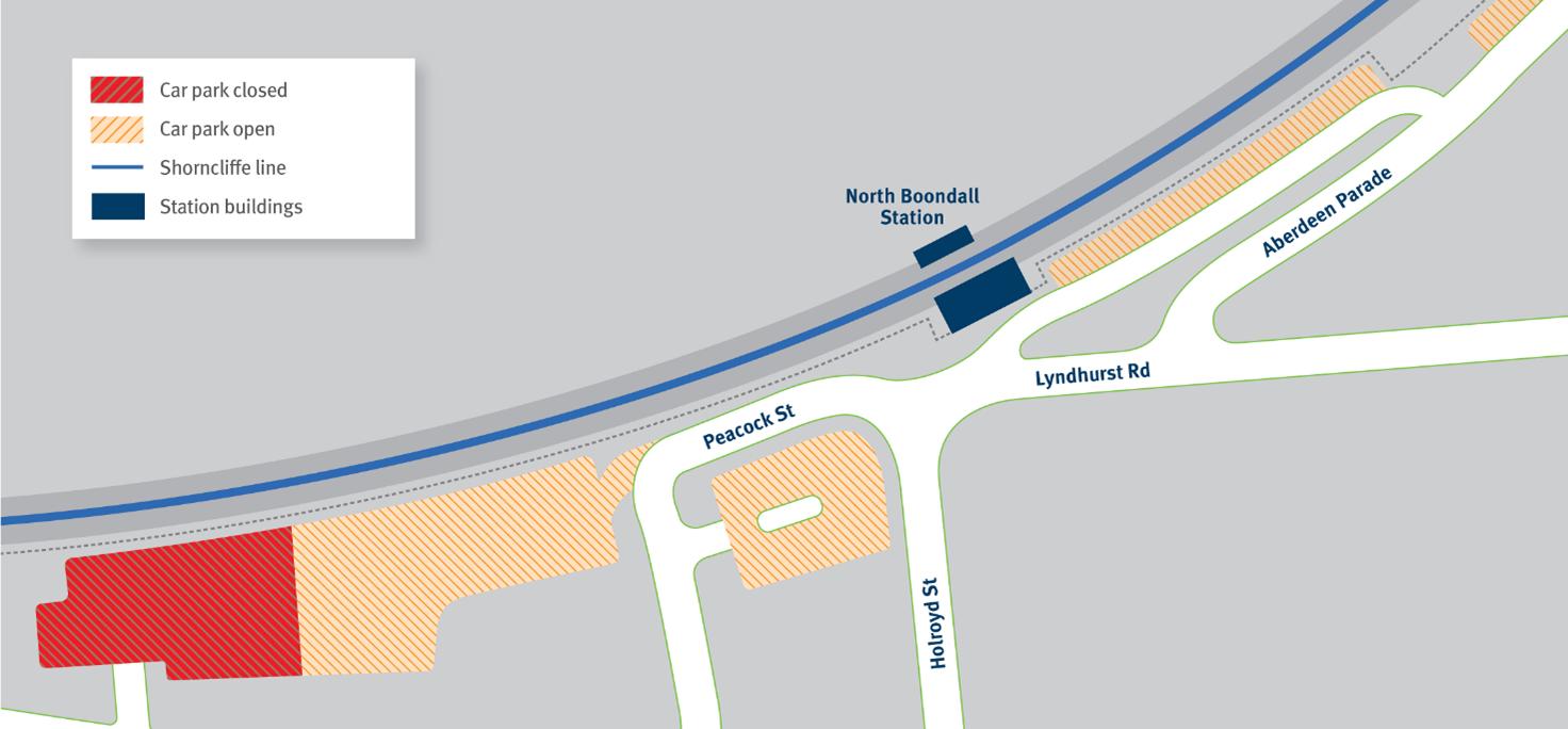 Map of car park closure at North Boondall station.