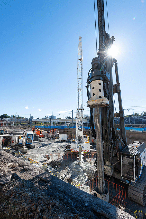 Piling rig boring at northern portal worksite