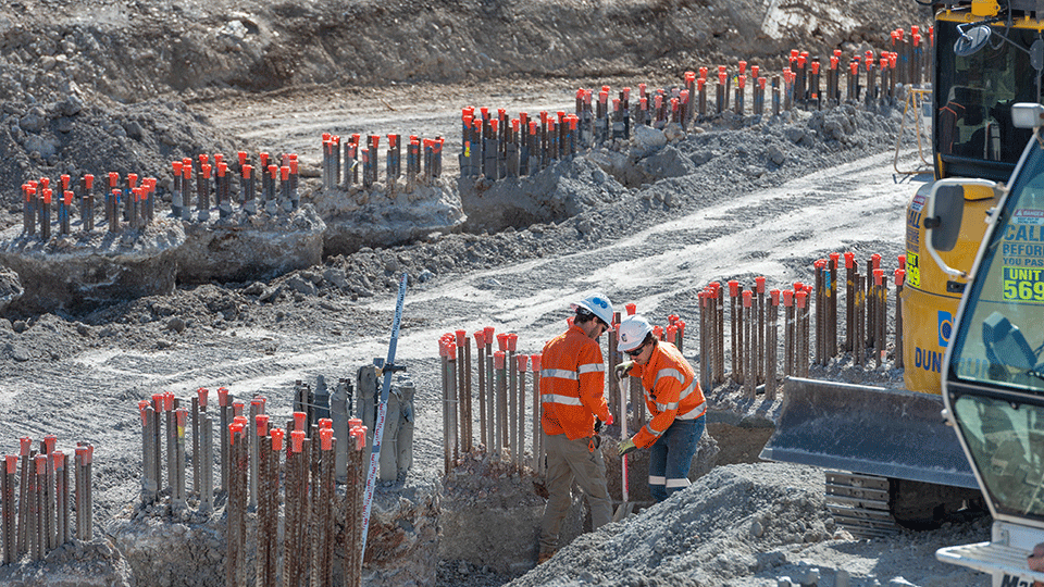 Preparing piles for installation of capping beams at southern portal worksite