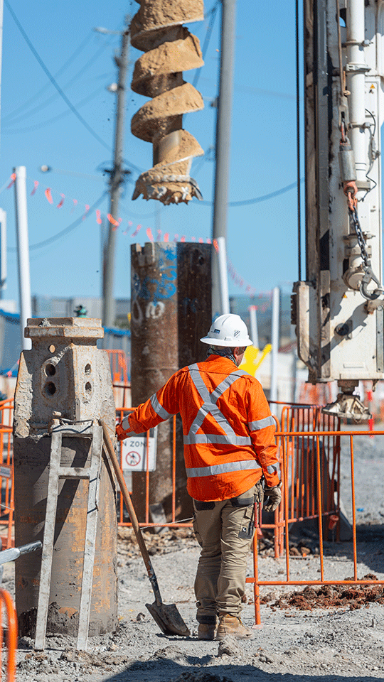 Piling rig boring at southern portal worksite