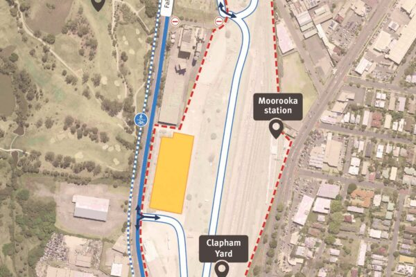 Map of work areas, construction access, and cyclist and pedestrian access on Fairfield Road, Yeerongpilly.