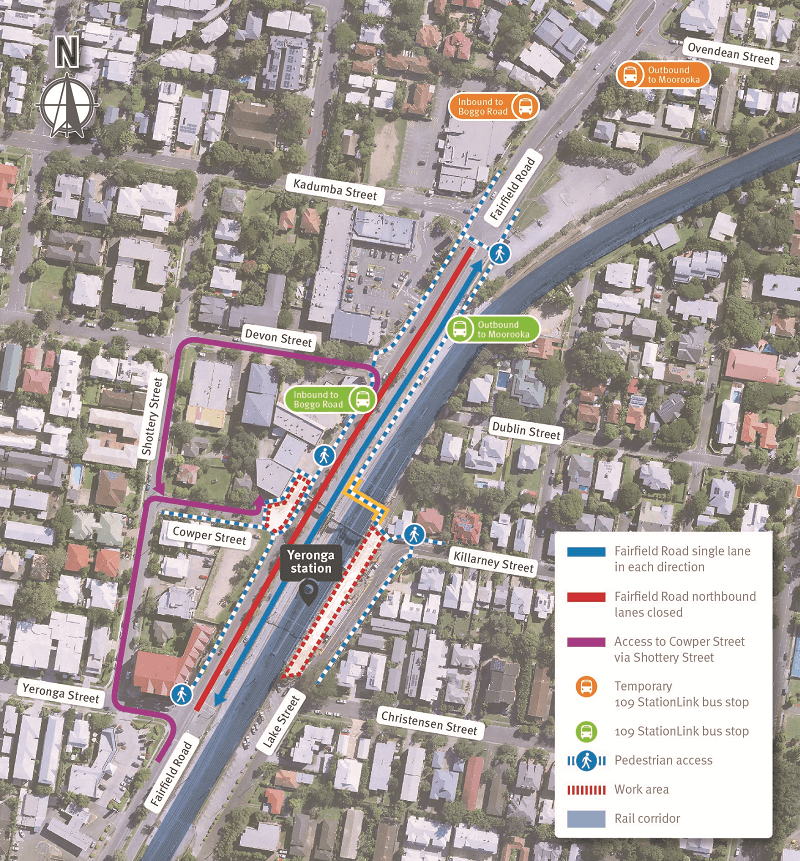 Map showing work area establishment on the corner of Cowper Street and Fairfield Road ,pedestrian movements around works, and Fairfield Road traffic changes for intermittent night works during October.