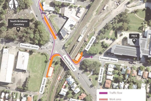 Map showing work areas and temporary lane and shoulder closures on Annerley Road, Noble Street, and Kent Street, Annerley.