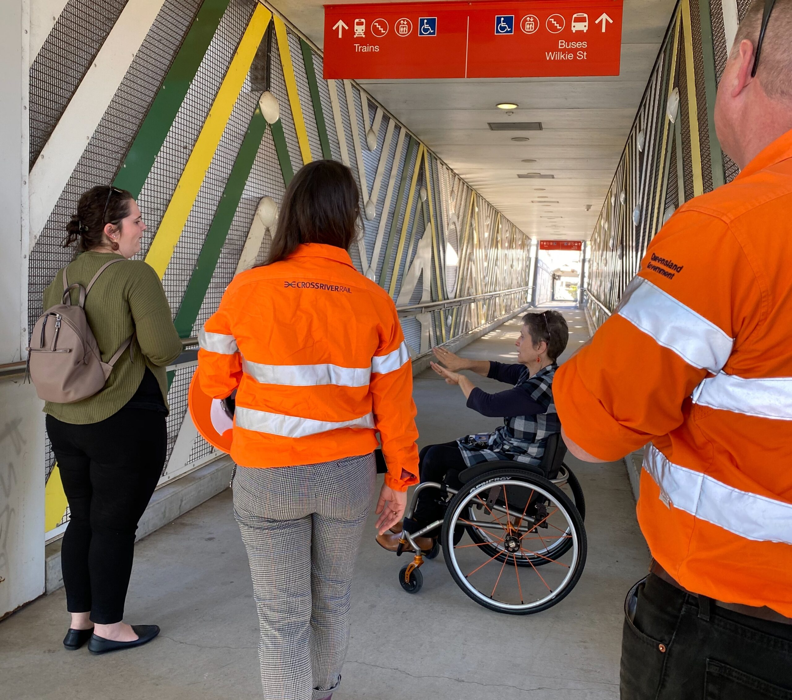 members of the Cross River Rail Accessibility Reference Group attend a site visit at Yeerongpilly station to provide feedback on station design including but not limited to paths of travel and signage.