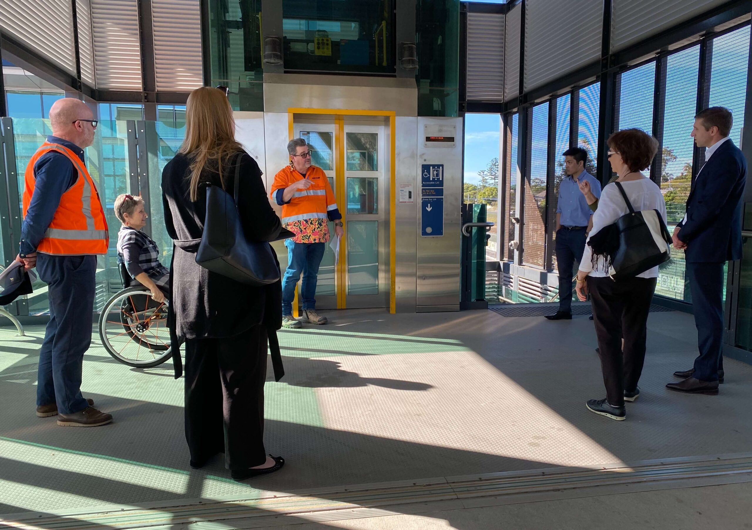 members of the Cross River Rail Accessibility Reference Group attend a site visit at Yeerongpilly station to provide feedback on station design including but not limited to lift design and signage