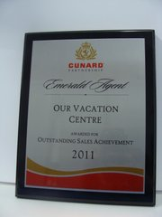 Cunard Cruise Line Outstanding Sales Achievements 2011