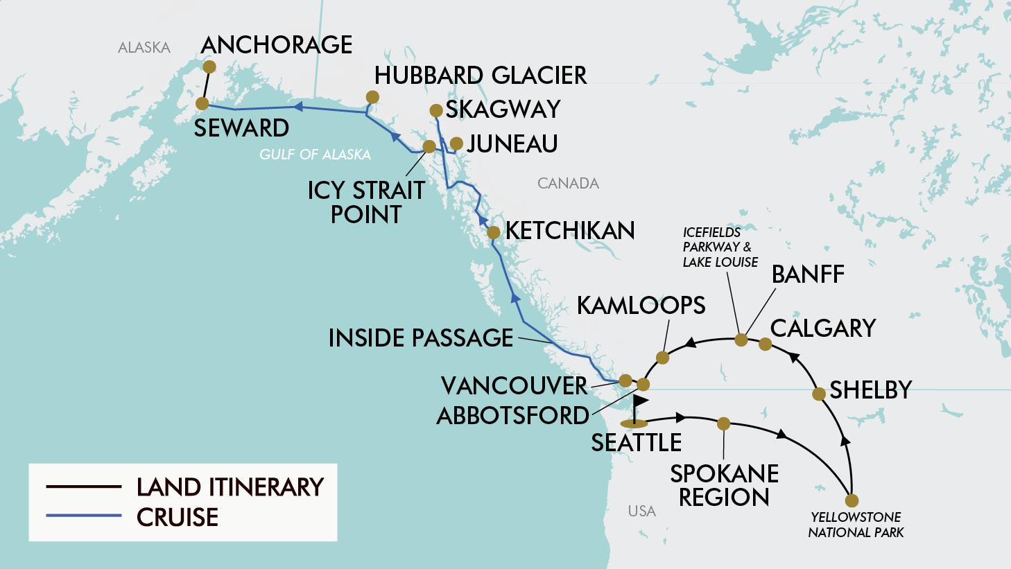 Map Of Canada 1870.18 Day Usa Alaska Canada Tripadeal