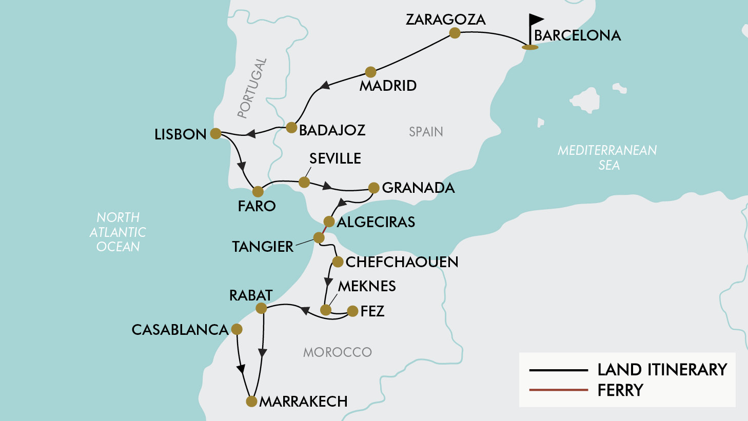 Map Of Spain Portugal And Morocco.21 Day Spain Portugal Morocco Tripadeal