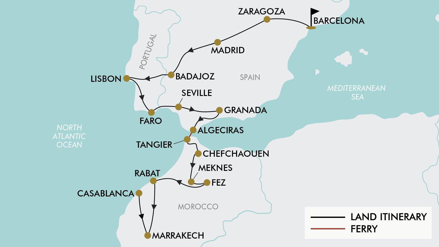 Map Of Spain Morocco.21 Day Spain Portugal Morocco Tripadeal