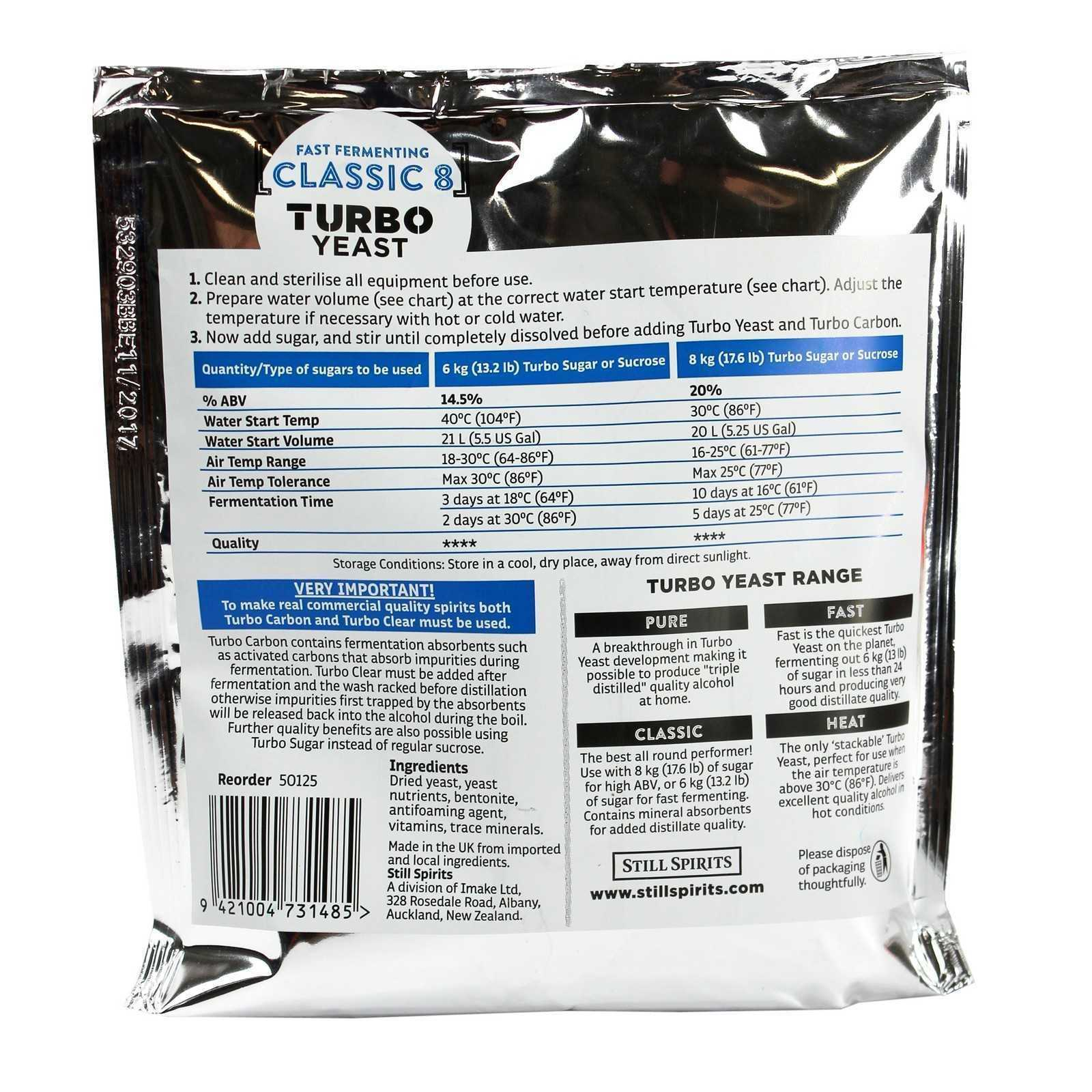how to use classic 8 turbo yeast