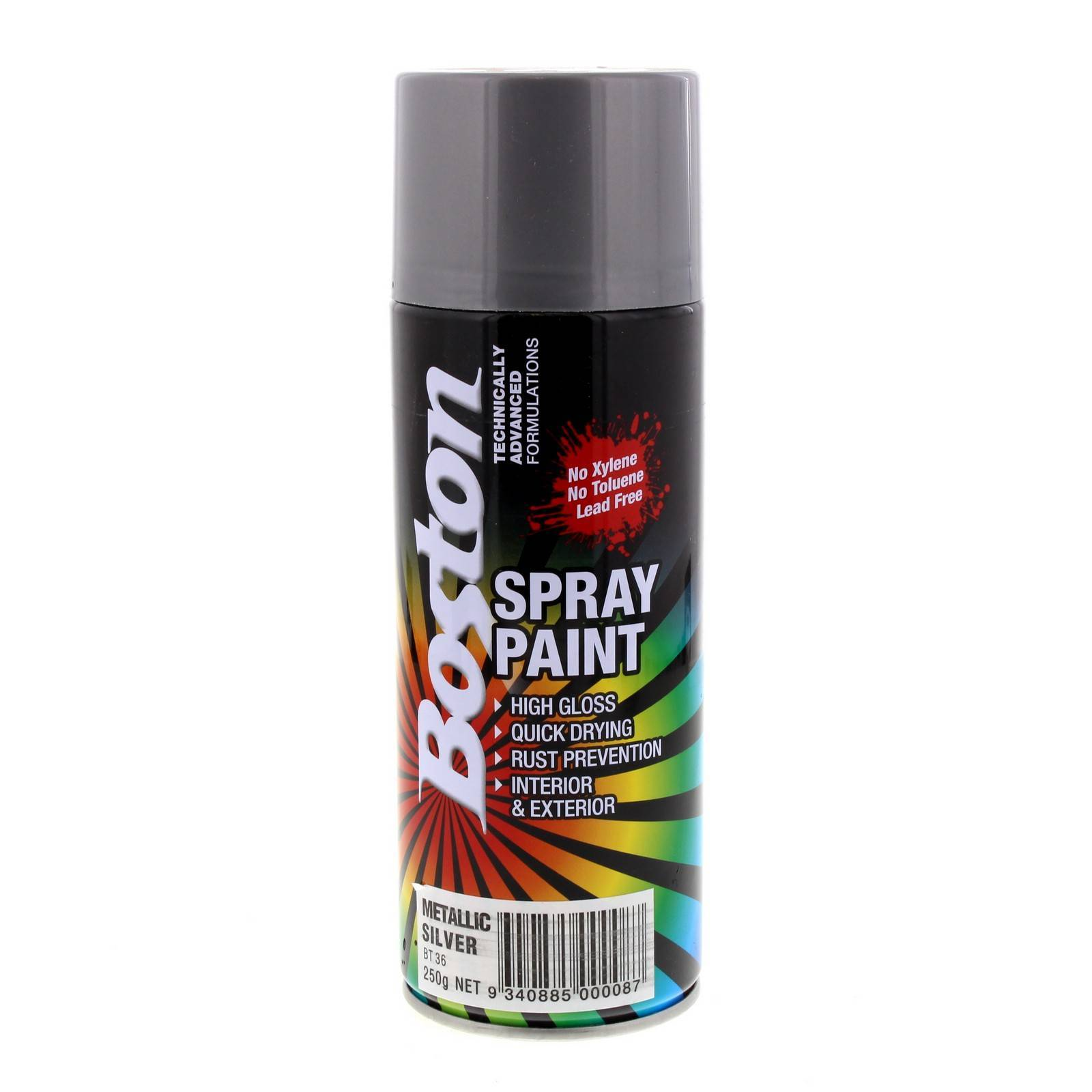 Metallic silver spray paint can 250g boston quick drying for Fast drying paint for crafts