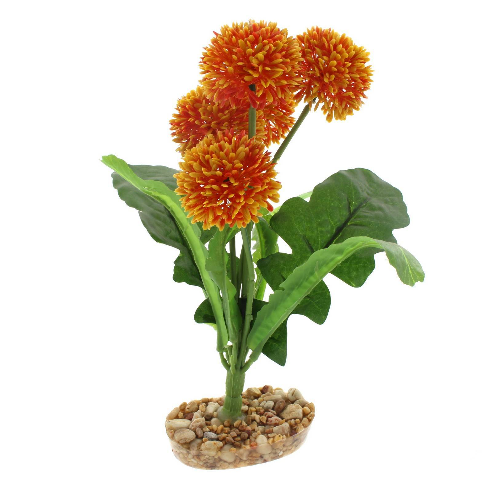 Reptile Plant Yellow Pom Pom With Gravel Base Realistic Silk