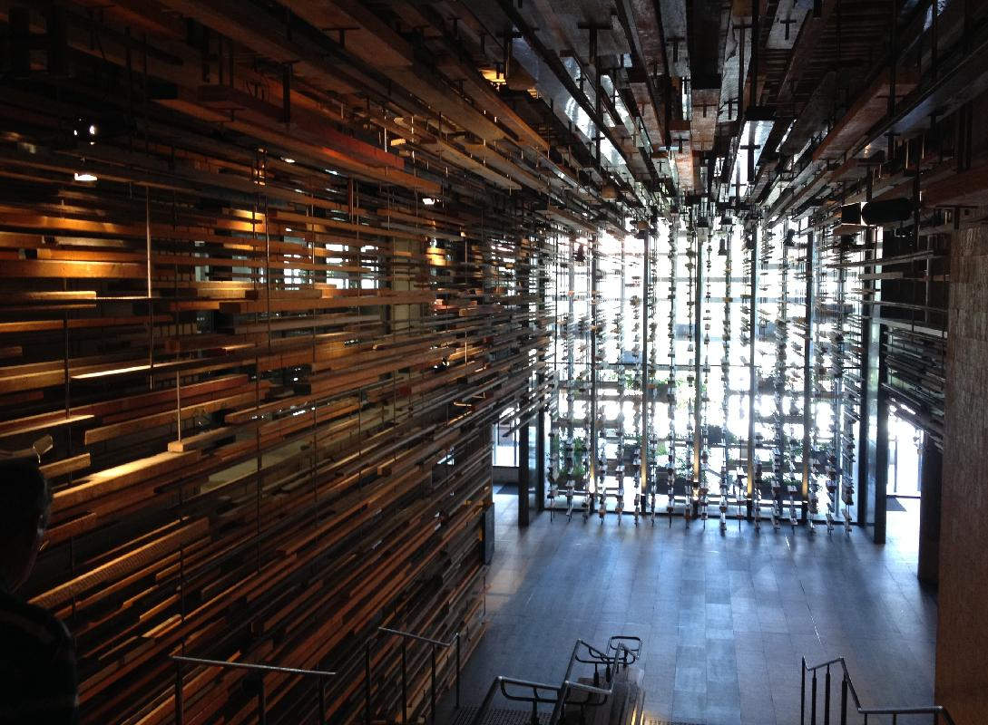 "A point n shoot after we saw La La Land, excellent film, like the old musicals again  Designed by March Studio, the dramatic entry stair was constructed from more than 2150 pieces of recycled timber.    See some details of the architecture and design here.. .<a target=""_blank"" href=""http://architectureau.com/articles/hotel-hotel/"">http://architectureau.com/articles/hotel-hotel/</a>  With more images..  Located in Nishi, a new mixed-use building in Canberra's New Acton precinct, Hotel Hotel is the result of an intense collaboration between more than fifty designers, architects and artists. By directly engaging with the complex systems that shape successful cities, though, it transcends the already remarkable sum of its parts."