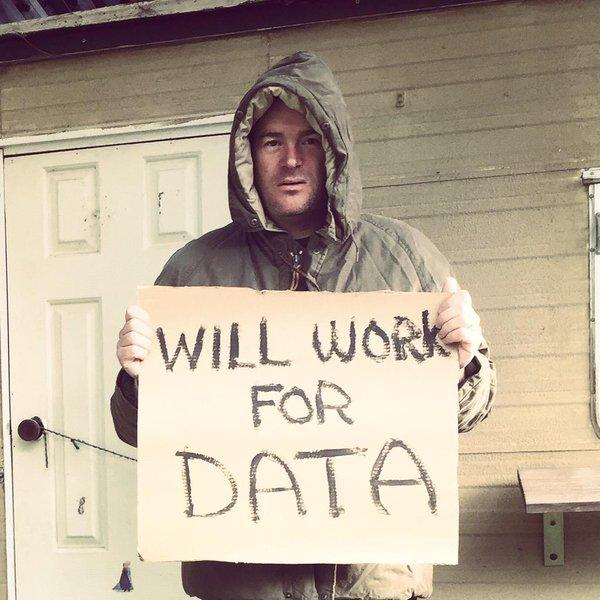 "The original 'will work for data' pic. <a href=""https://twitter.com/search/%23WeAreCKAN"" target=""_blank"">#WeAreCKAN</a> Extreme production costs. No one can repeat this, ever ;) <a target=""_blank"" href=""http://t.co/c8jA5hZ3VD"">http://t.co/c8jA5hZ3VD</a>"