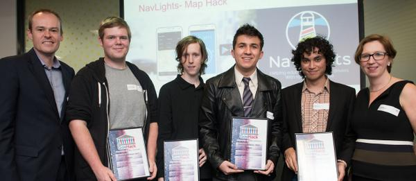 """NavLights wins @RACQOfficial Best use of transport <a href=""""https://twitter.com/search/%23opendata"""" target=""""_blank"""">#opendata</a> <a href=""""https://twitter.com/search/%23GovHack"""" target=""""_blank"""">#GovHack</a> Award - video: <a target=""""_blank"""" href=""""https://t.co/VIqA7RiV54"""">https://t.co/VIqA7RiV54</a> <a target=""""_blank"""" href=""""http://t.co/XxMxx5Gl2a"""">http://t.co/XxMxx5Gl2a</a>"""