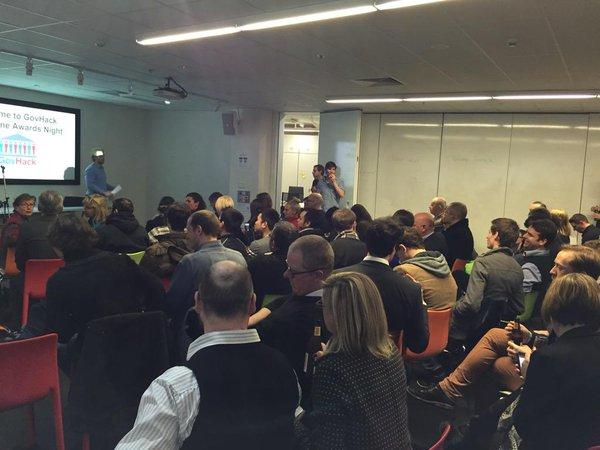 """2015 <a href=""""https://twitter.com/search/%23GovHack"""" target=""""_blank"""">#GovHack</a> Victoria awards night! Great crowd full of fascinating peeps. <a target=""""_blank"""" href=""""http://t.co/h7K59TpXav"""">http://t.co/h7K59TpXav</a>"""