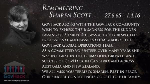 """RT @GovHackAU: Recently we lost one of our brightest, most dedicated shining stars of <a href=""""https://twitter.com/search/%23GovHack"""" target=""""_blank"""">#GovHack</a>, Sharen Scott @share_s 🌟✨ <a href=""""https://twitter.com/search/%23RIPSharen"""" target=""""_blank"""">#RIPSharen</a>"""
