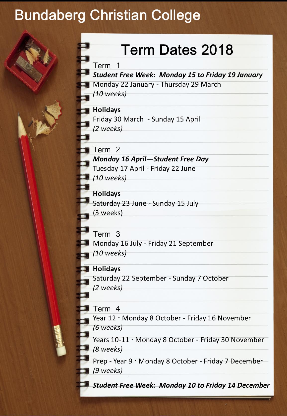 2018 Term Dates Image