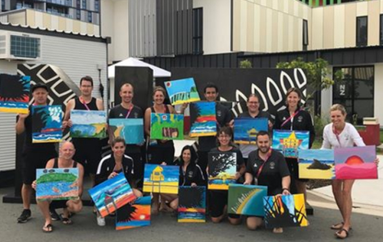 Nz Team Holding Hillcrest Paintings At Atheletes Village