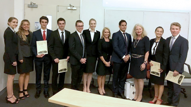 Queensland Court Of Appeal President Mc Murdo Third From Right With Bond Uni Mooting Finalists