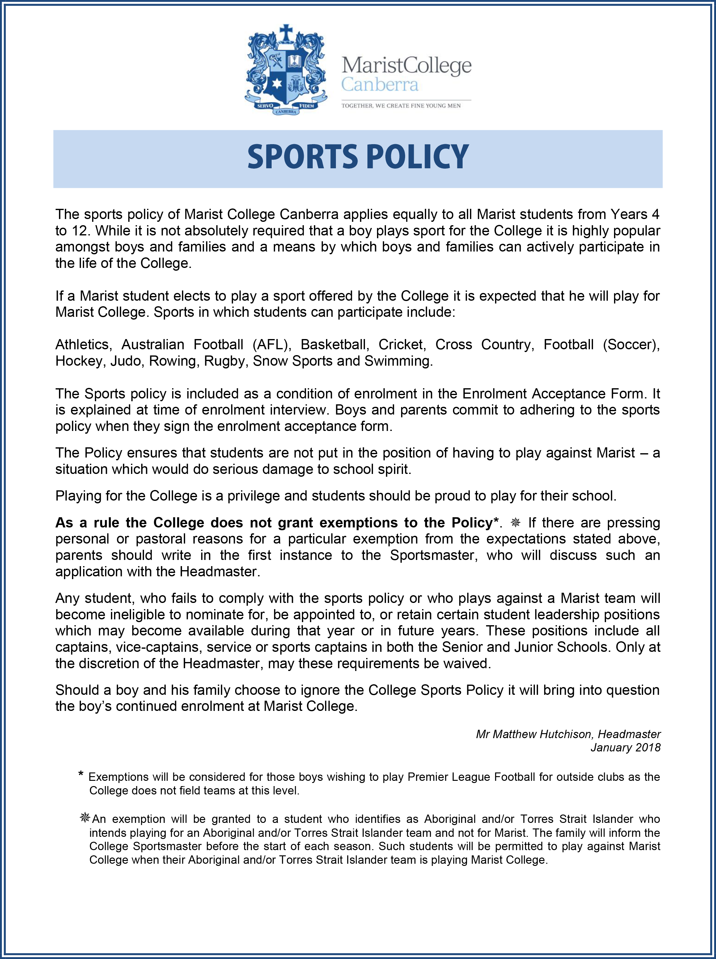 Marist College Canberra Sports Policy 2018
