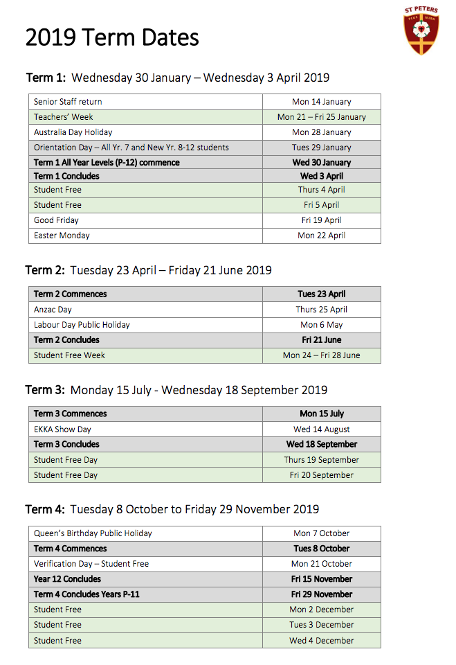 term dates for 2019 are now available read more to view or click here for a printable download