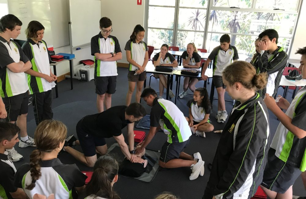 Year 10 Learning CPR to Save Lives