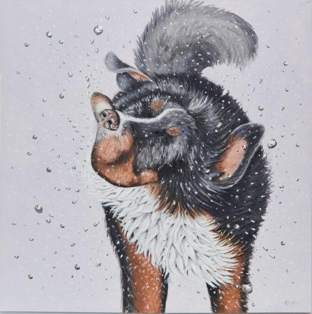 Artwork Wet Dog Shaking Cropped