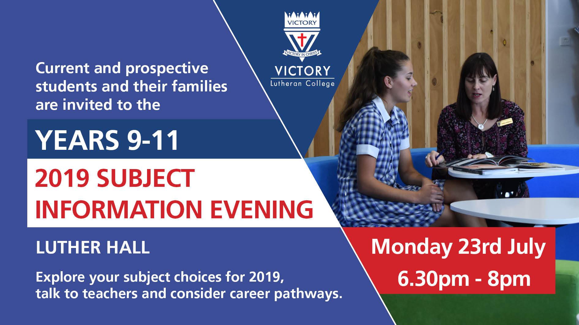 2019 Yr 9 11 Subject Information Evening