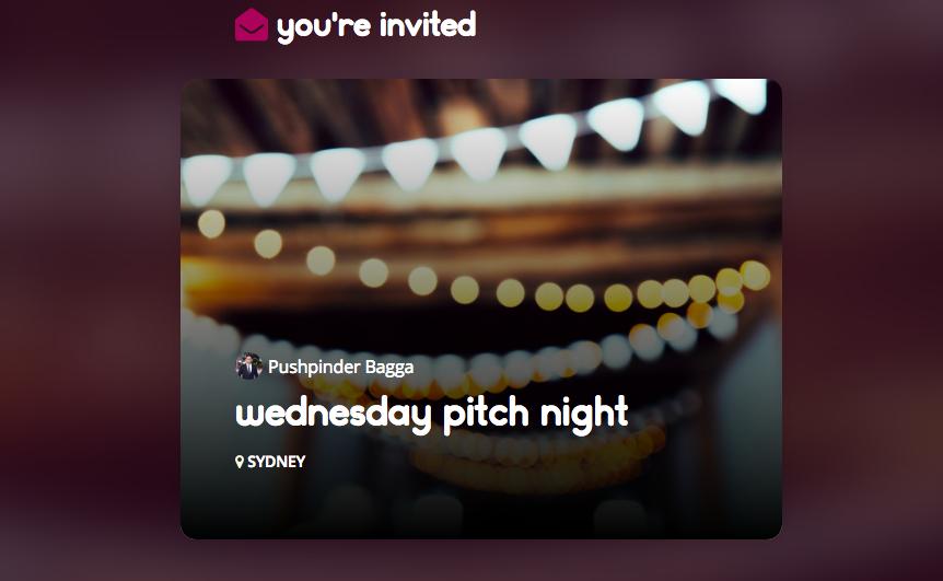 Pitch invite dishme