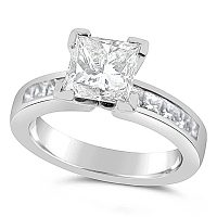 FSDR3/ Platinum Princess cut Engagement Ring