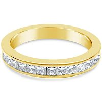 DWR1/ 18ct Yellow Gold Princess cut Wedding Ring