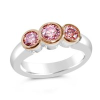 DJSP4/ Platinum and Rose Gold Argyle Pink 3 stone Diamond Ring